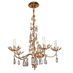 Gilt Metal Chandelier with Crystals