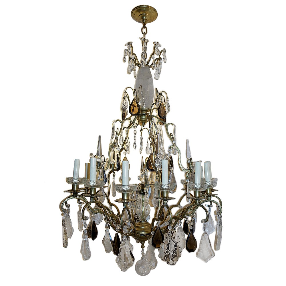Neoclassic Bronze Chandelier with Rock Crystal Pendants