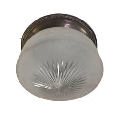 Etched Glass Flush Mounted Light Fixture