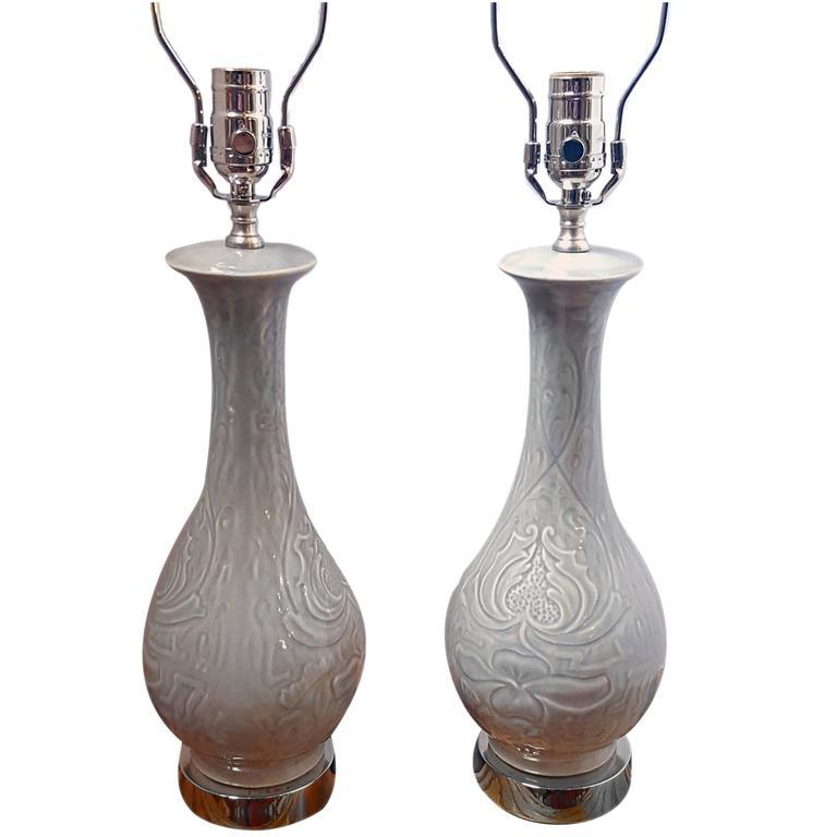 Pair of Porcelain Pale Celadon Lamps
