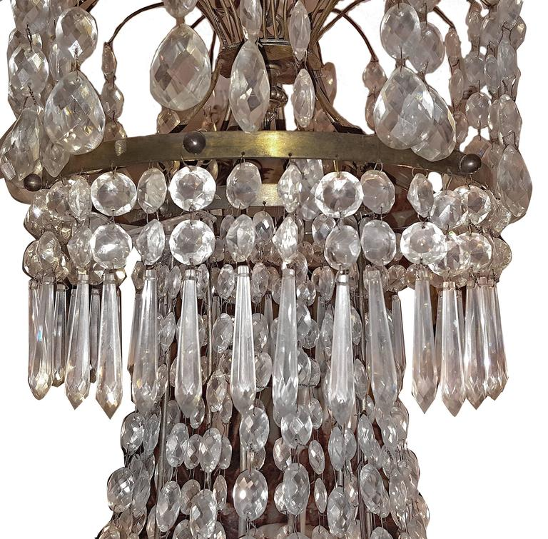 Neoclassic Swedish Crystal Chandelier At 1stdibs