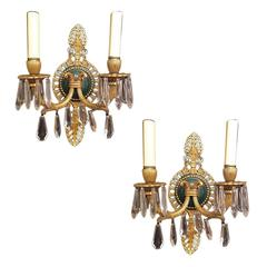 Pair of French Empire Sconces with Crystals