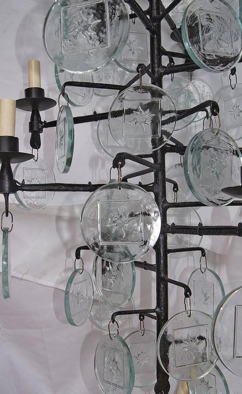 Pair of Wrought Iron and Molded Glass Chandeliers In Excellent Condition For Sale In New York, NY