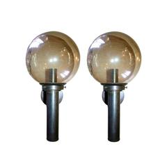 Large Moderne Sconces with Glass Globe