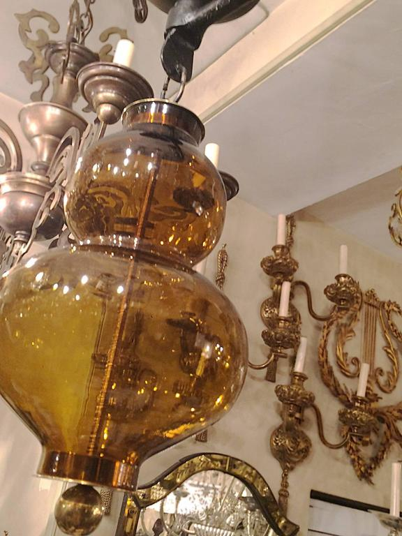 Large Wrought Iron Chandelier with Glass Elements 4
