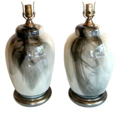 """Pair of """"Smoke"""" Glass Table Lamps"""