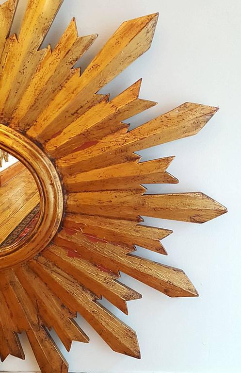 Early 20th Century Antique Spanish Sunburst Mirror For Sale