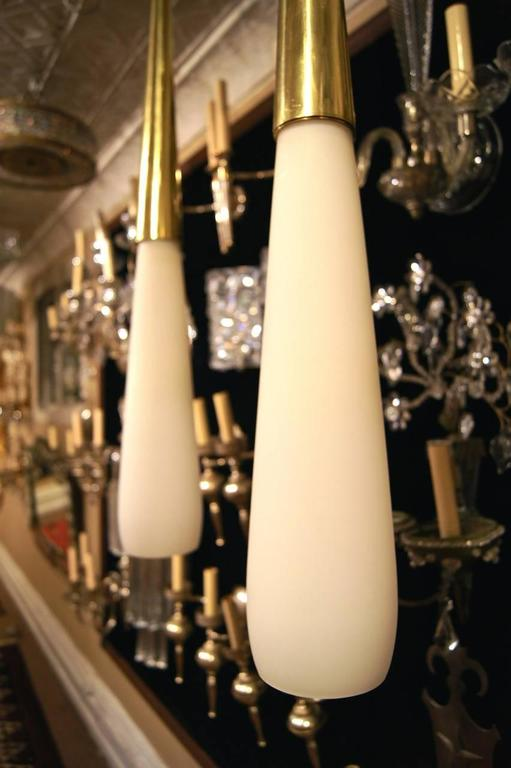 Italian Set of Three Milk Glass Light Fixtures, Sold Individually For Sale