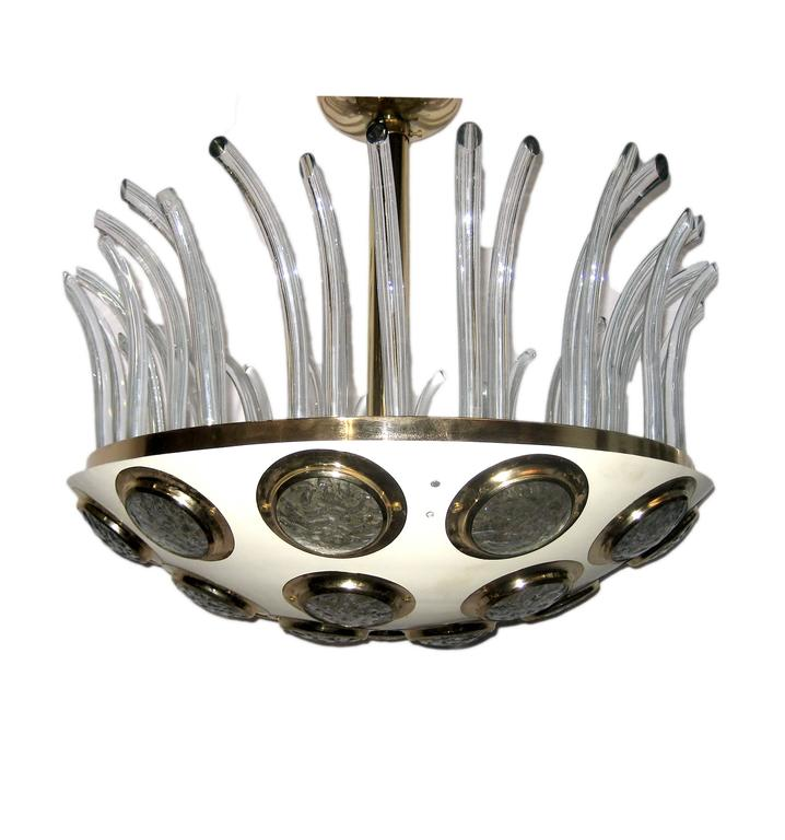 Moderne Italian Light Fixture with Glass Insets In Excellent Condition For Sale In New York, NY