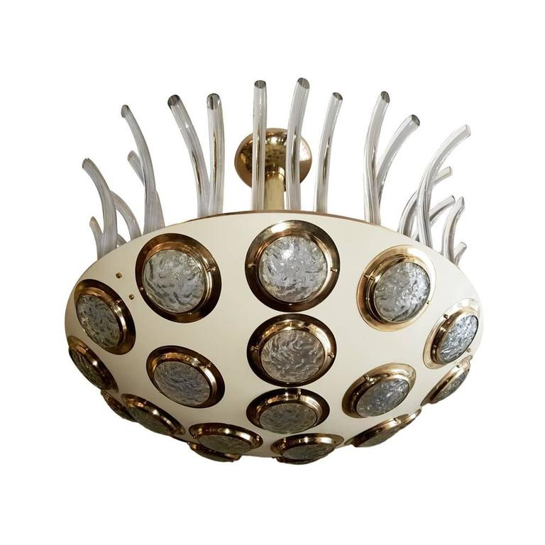 Mid-20th Century Moderne Italian Light Fixture with Glass Insets For Sale