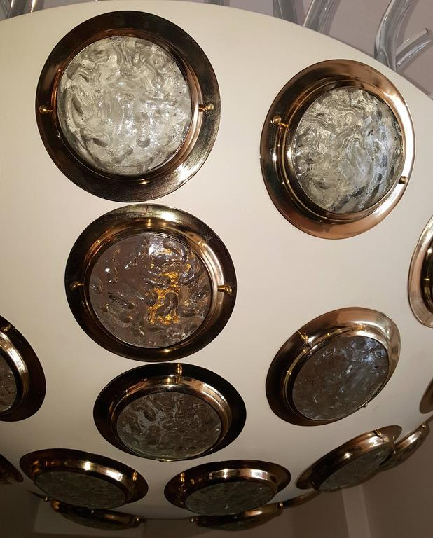 Moderne Italian Light Fixture with Glass Insets For Sale 4