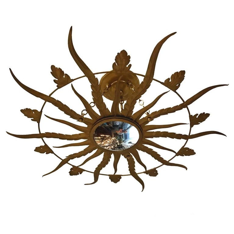 Gilt Metal Sunburst Light Fixture For Sale