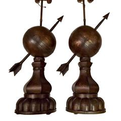 Pair of Large Armillary Globe Lamps