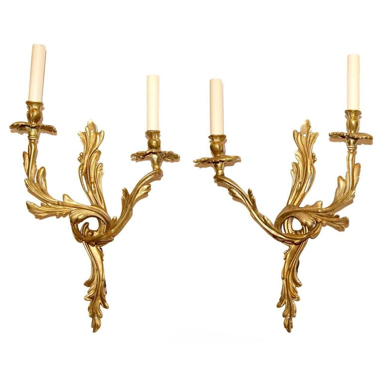Louis XVI Style Two-Arm Sconces For Sale