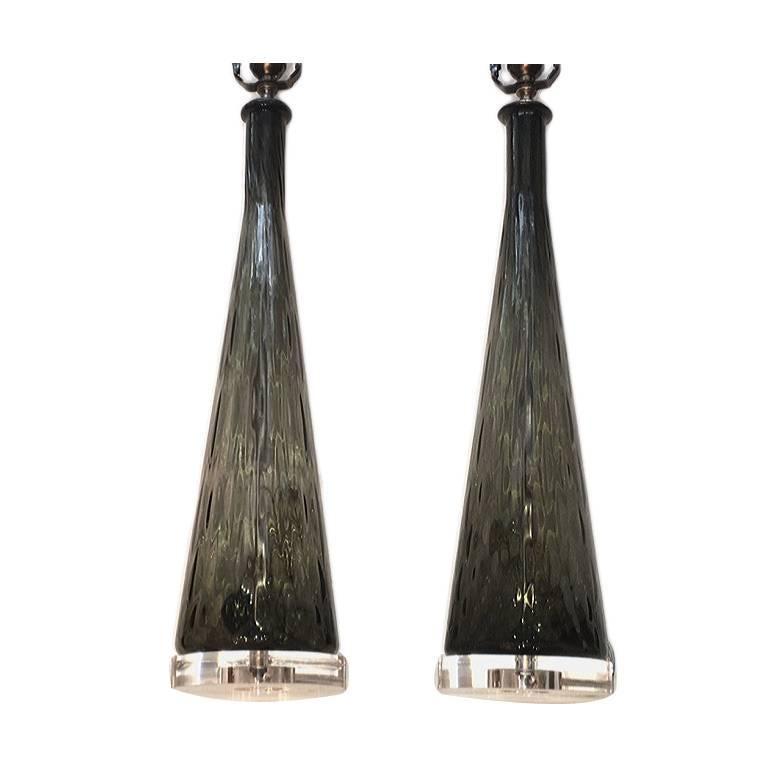 Pair of Smoke Glass Murano Lamps