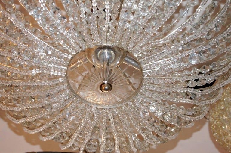 Pair of Beaded Crystal Light Fixtures In Excellent Condition For Sale In New York, NY