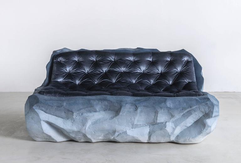 "Drift (sofa) Sand and silk velvet 60"" x 40"" x 28"" Edition of 3 This work was part of the solo exhibition, ""DRIFT"" at THE NEW (gallery).  About Fernando Mastrangelo (designer): Founder of FM/s, artist and designer Fernando Mastrangelo"
