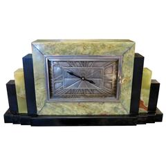 Leon Hatot Ato Green Onyx Mantle Clock