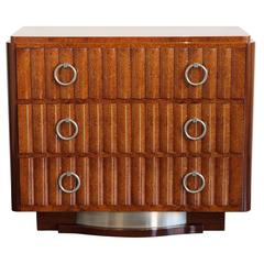 French Art Deco Amboyna Burl and Mahogany Dresser