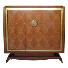 Jean Desnos Art Deco Rosewood Marquetry Armoire
