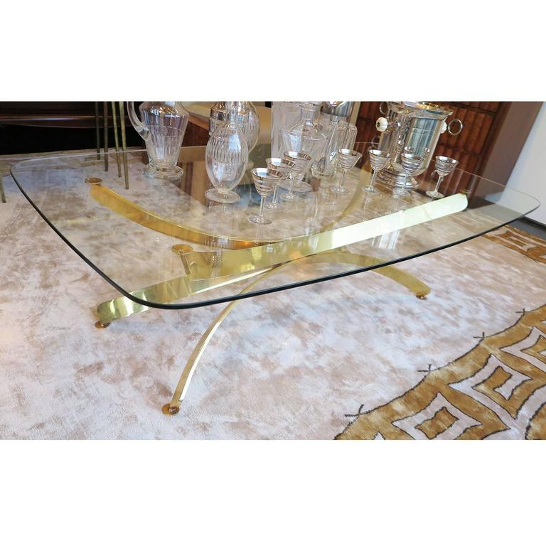Vintage Brass And Glass Top Coffee Table 1960s At 1stdibs