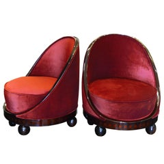 Pair of French Art Deco Boudoir Chairs with parquetry details and ball feet