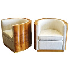Pair of Elm Burl Barrel Chairs in the Style of Art Deco