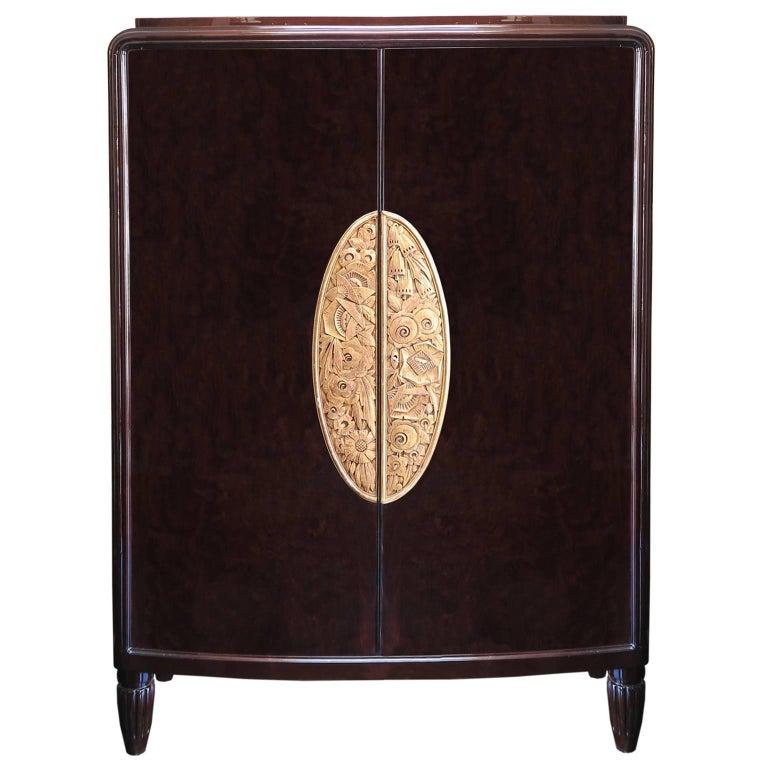 Large Art Deco Armoire in Dark Oak by Louis Majorelle For Sale