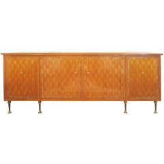 Blond Mahogany Marquetry Sideboard by Jules Leleu and Maison Leleu