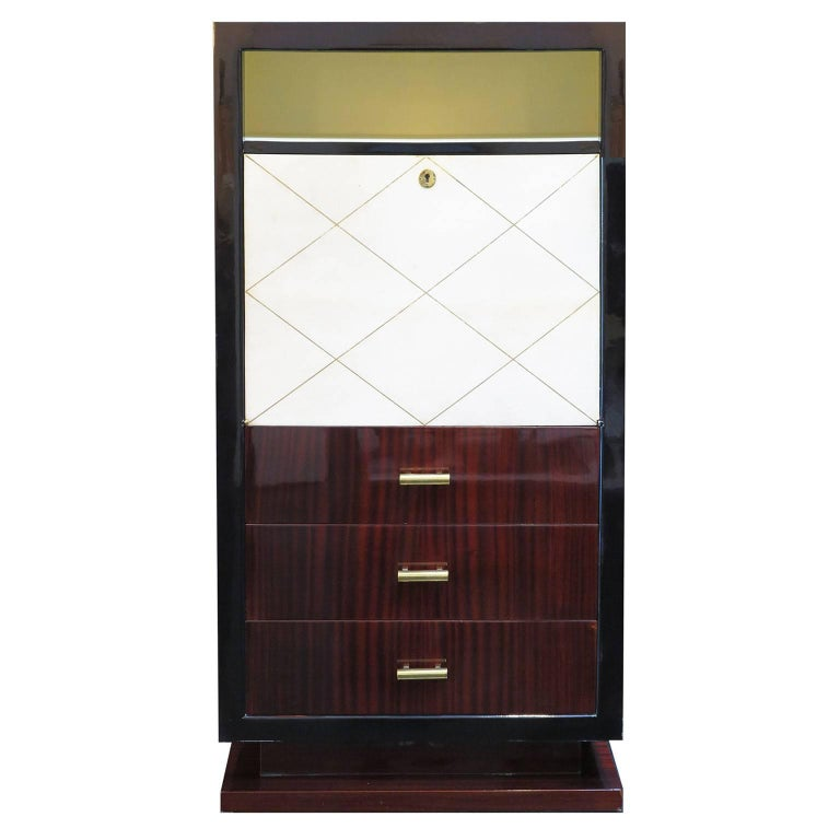 French Art Deco Secretary in Mahogany and Parchment