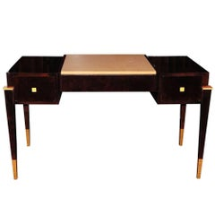 Art Deco Walnut Burl Desk with Ostrich Leather Top