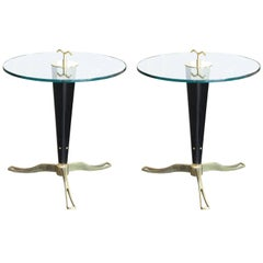 Pair of Midcentury Brass and Glass Side Tables, Italy, circa 1960s-1970s
