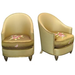 Pair of Art Deco Silk Lounge Chairs, France, circa 1920s