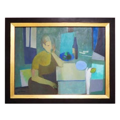 Woman in Interior, Acrylic on Canvas by Roger Derieux, Midcentury