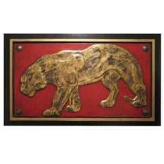 Panther Relief with Gold Leaf on Red Background