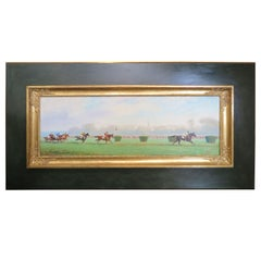 Horse Race Painting by Eugene Pechaubes, circa 1940s