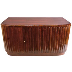 Art Deco Demilune Desk in Rosewood with Fluted Details