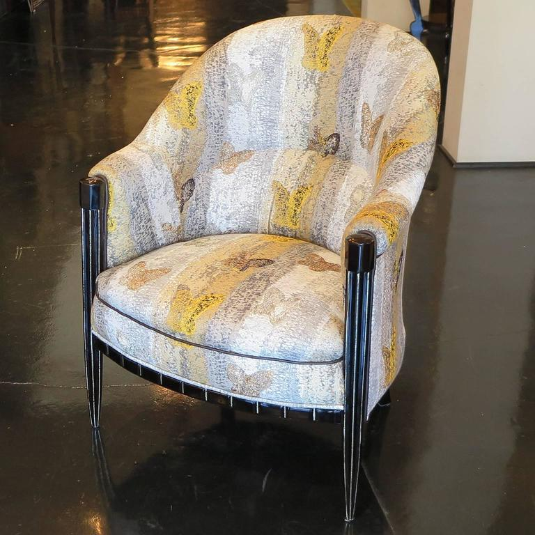 French art deco salon chair with butterfly embroidery for for 2nd hand salon furniture sale