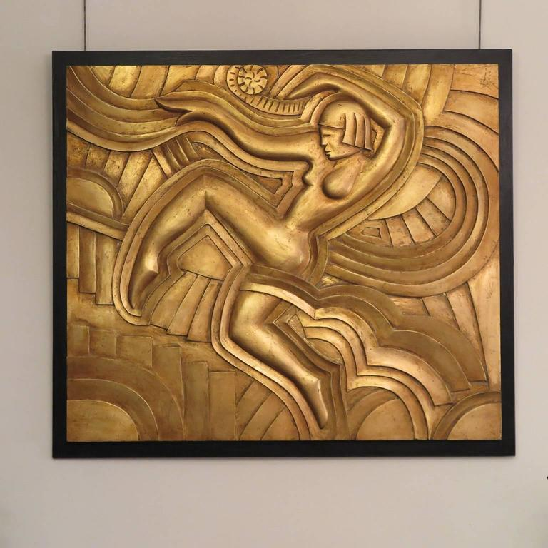 "Art Deco hand-carved three-dimensional wooden relief based on the design by Picot for the ""Folies Bergères"" theater in Paris. Shown in gold leaf, also available in silver leaf. For a pair, the reliefs will be carved to face each other."