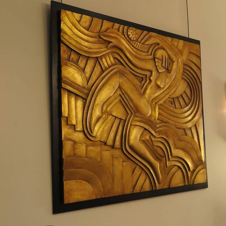American Art Deco Hand-Carved Relief in Gold Leaf For Sale