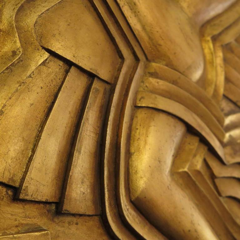 Contemporary Art Deco Hand-Carved Relief in Gold Leaf For Sale