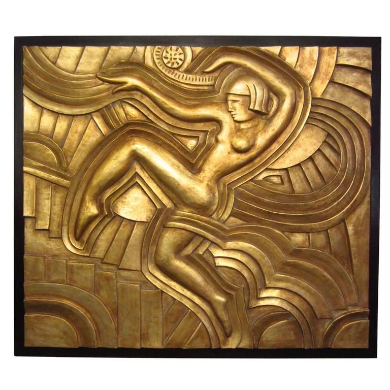 Art Deco Hand-Carved Relief in Gold Leaf For Sale