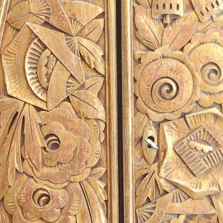 Large Art Deco Armoire in Dark Oak by Louis Majorelle For Sale 1