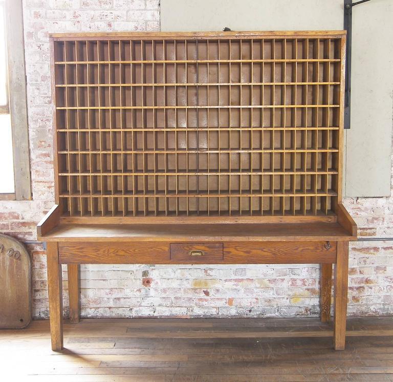 Antique Industrial Wood Postal Sorting Desk Storage Post