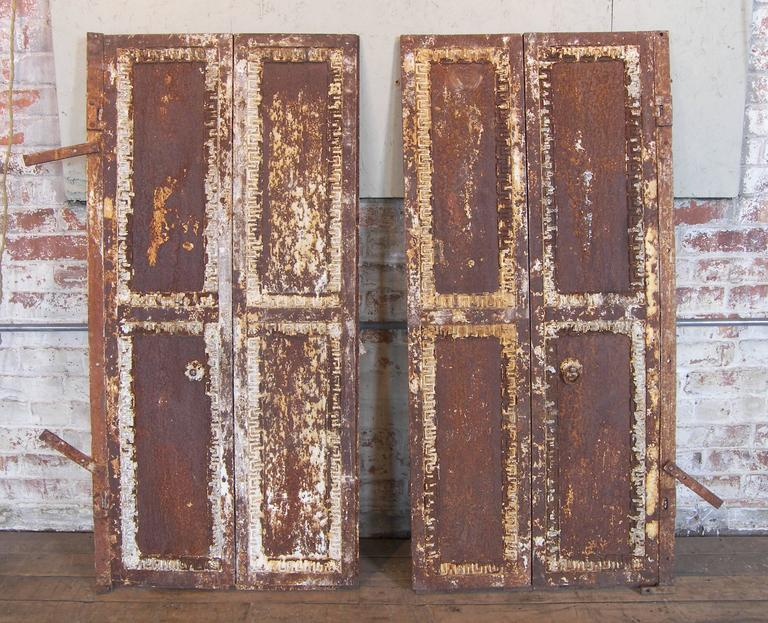 Pair of Antique Industrial Neoclassical Greek Key Cast Iron Doors Window Shutter 2