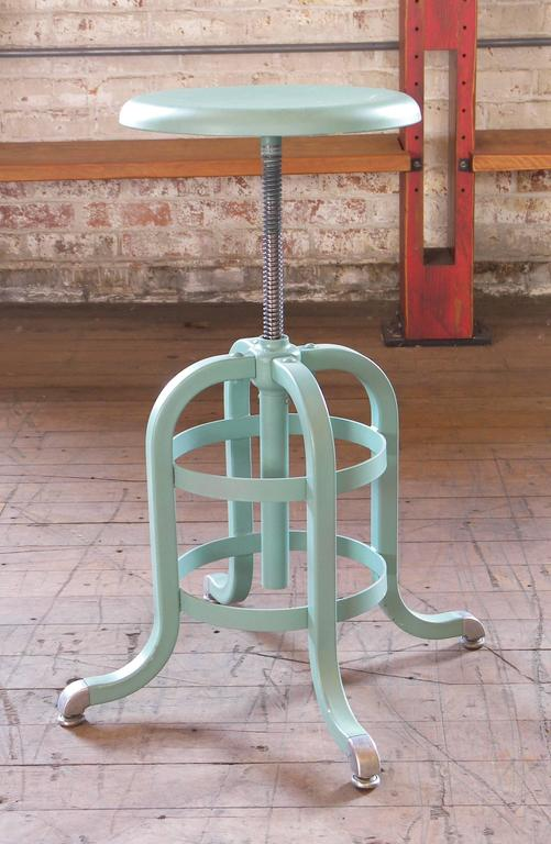 1930s American Vintage Metal Medical Stool Adjustable