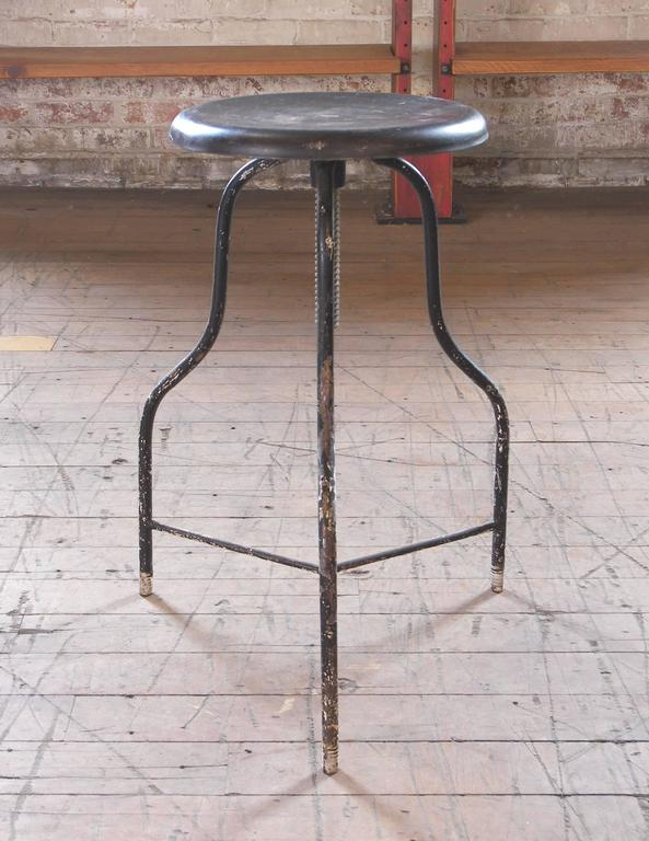 Fabulous Vintage Black Metal Medical Stool With Three Legs Adjustable Seat Height Onthecornerstone Fun Painted Chair Ideas Images Onthecornerstoneorg