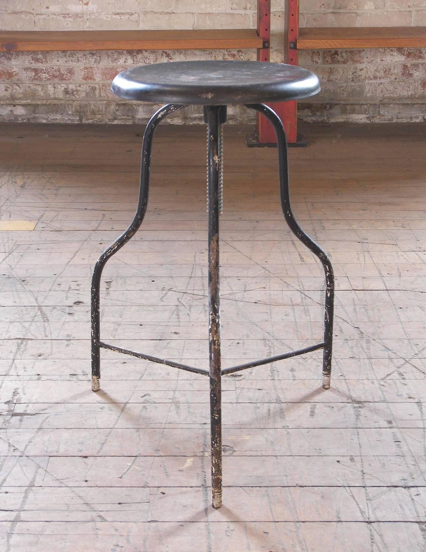 Vintage Black Metal Medical Stool With Three Legs