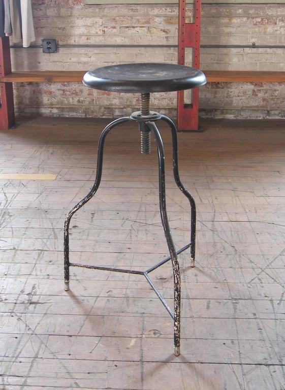 Fabulous Vintage Black Metal Medical Stool With Three Legs Adjustable Seat Height Squirreltailoven Fun Painted Chair Ideas Images Squirreltailovenorg
