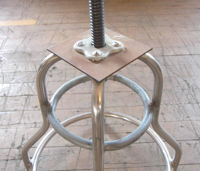 Vintage Medical Stool Shampaine Silver Metal Adjustable